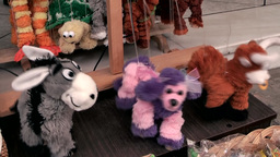 Greece the Aegean Sea Kos 050 dancing soft toys in a shop Footage