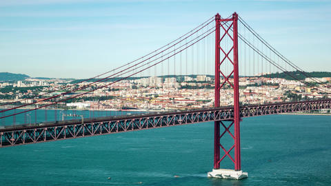 Traffic on the 25 de Abril Bridge in Lisbon Portugal Footage