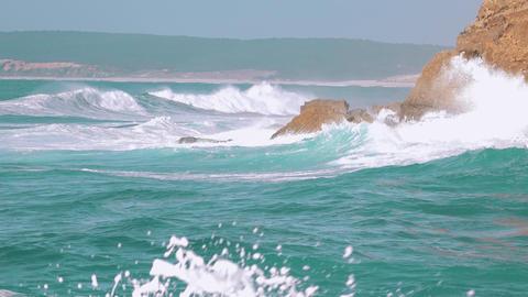 Ocean Waves Breaking On Rock stock footage