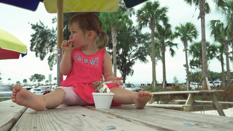 Cute little girl with pig tails eating ice cream on a picnic table Footage