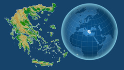 Greece and Globe. Bumps shaded Animation
