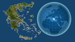 Greece and Globe. Satellite Animation
