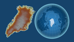 Greenland and Globe. Relief Animation