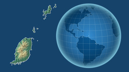 Grenada and Globe. Relief Animation