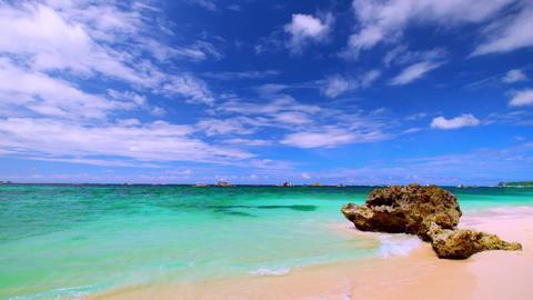 Amazing sunny day at tropical ocean beach. Boracay island, Philippines Footage