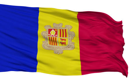 Isolated Waving National Flag of Andorra Animation
