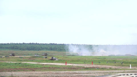 Slow motion shot of shooting Russian army self-propelled howitzer Live Action