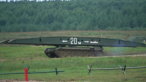 MOSCOW REGION, RUSSIA - AUGUST 25, 2017. Moving Russian military engineering Footage