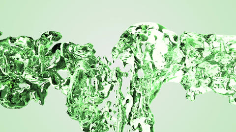 Green water splash with bubbles of air with white background CG動画素材