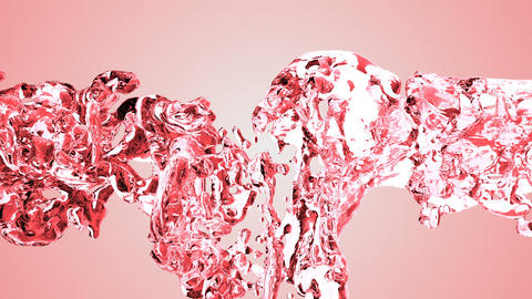 Red water splash with bubbles of air with white background Animation