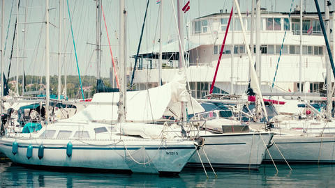 PULA, CROATIA - AUGUST 4, 2017. Moored sailboats at marina Footage