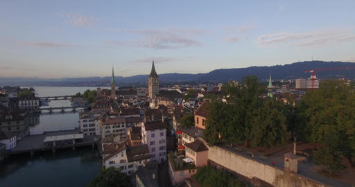 Zurich city footage by drone ビデオ