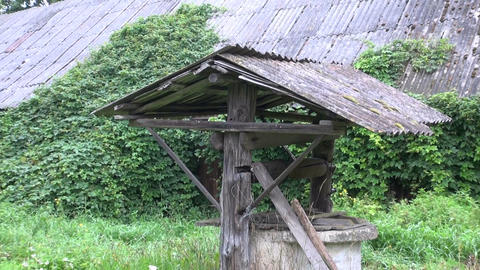 old abandoned draw well in farm Footage
