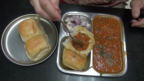 tourist eating exotic indian food Stock Video Footage