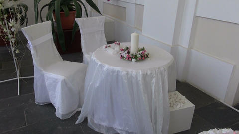 wedding table with two chair beautiful decoration Footage