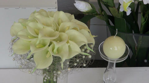 florist compositions arrangements with flower, vase and stone Footage