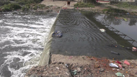 catastrophic polluted river of Bagmati in Kathmandu, Nepal Live Action