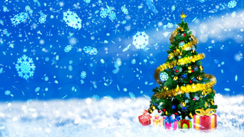 HD Loopable Background with nice snowflakes and xmas tree Animation