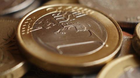 Euro coins super close-up Filmmaterial