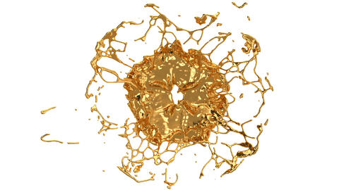 Melting gold splashes and flow in with slow motion. Alpha Animation
