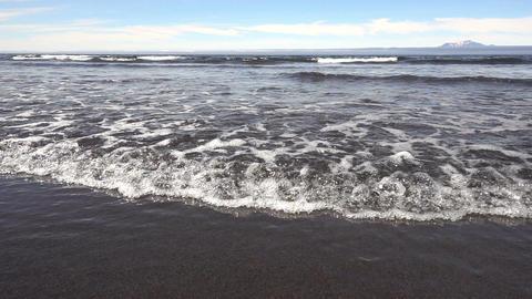 Sea waves on black sand beach Footage