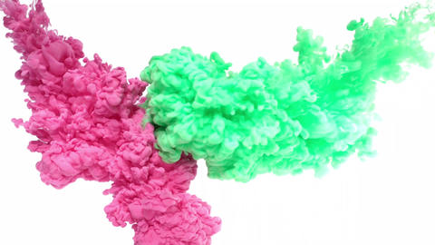 Pink and Green Ink in Water Footage