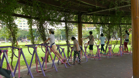 People exercising at park Filmmaterial