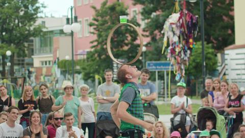 Mantega Juggler Performes the Show on the Street Footage