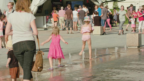 Little Girls Playing in Street Fountain, Lublin Footage