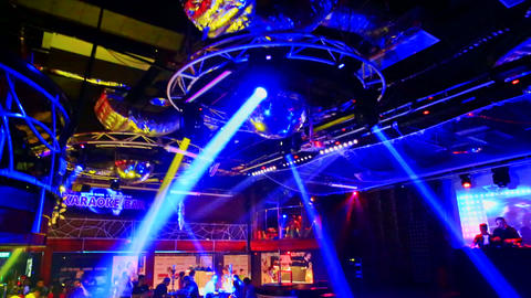 Colourful Projector Lights Show under Ceiling in Night Club Footage