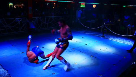 Boxers Fight Opponent Falls but Rises Continues Fight Live Action