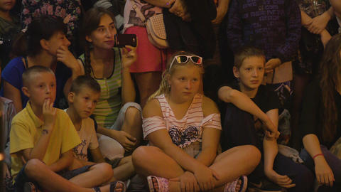 Children Watching Sword Swallower Show in Lublin Footage