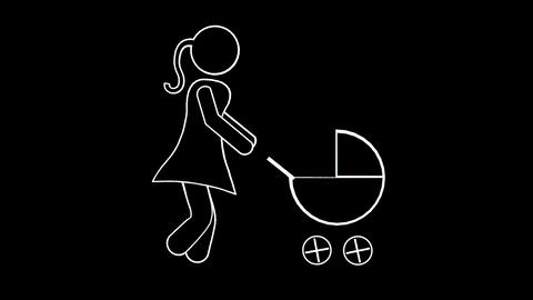 Woman Stick Figure Pushing Pram Stock Video Footage