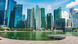 Singapore Skyline and view of skyscrapers on Marina Bay Footage