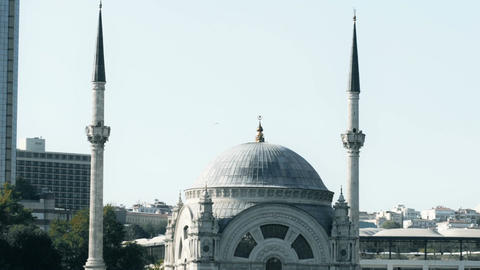 Slowmotion view of famous Istanbul mosque on Bosphorus from floating tourist Footage