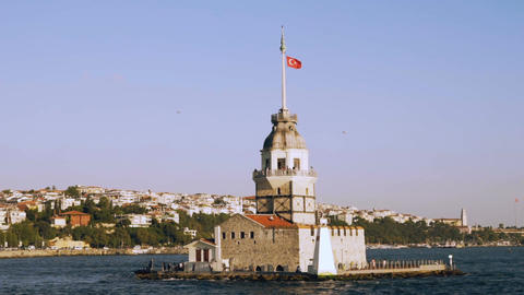 Slowmotion of Maiden Tower view from Bosphorus Sea in Istanbul, Turkey Footage