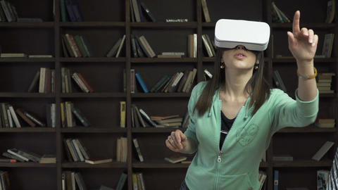 woman in vr head-mounted display Footage