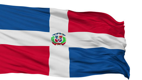 Isolated Waving National Flag of Dominican Republic Animation