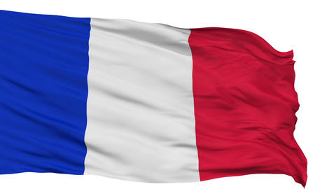 Isolated Waving National Flag of France Animation