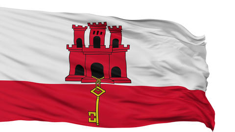 Isolated Waving National Flag of Gibraltar Animation