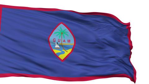 Isolated Waving National Flag of Guam Animation