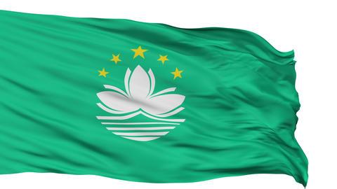 Isolated Waving National Flag of Macau Animation