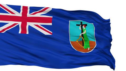 Isolated Waving National Flag of Montserrat Animation