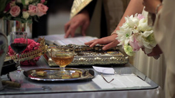 Bride who keeps his hand on the cross and the Gospel, during the religious weddi Footage