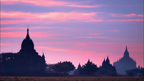 Sunrise time lapse over ancient Buddhist Temple silhouette at Bagan. Myanmar Footage