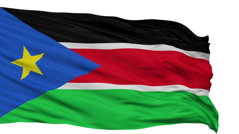 Isolated Waving National Flag of South Sudan Animation