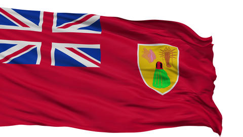 Isolated Waving National Flag of Turks and Caicos Islands Animation