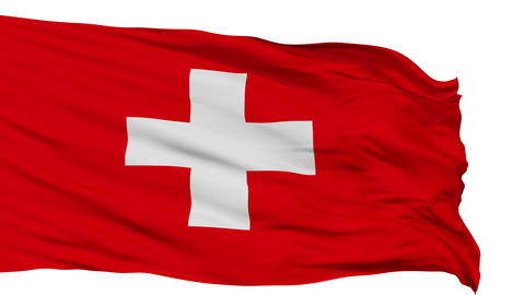 Isolated Waving National Flag of Switzerland Animation