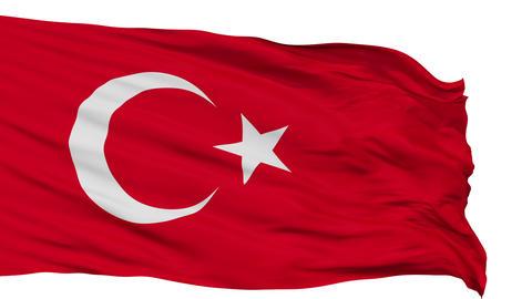 Isolated Waving National Flag of Turkey Animation