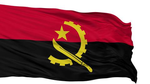 Isolated Waving National Flag of Angola Animation